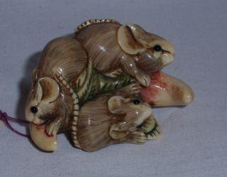 Antique Oxbone Polychrome Netsuke Of Mice,  Artist Signed photo