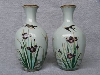 Pair Of Japanese Cloisonne Vases.  Silver Wire. photo