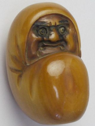 A Carved Japanese Old Antiques Netsuke Bodhidharma Daruma Doll /signed photo