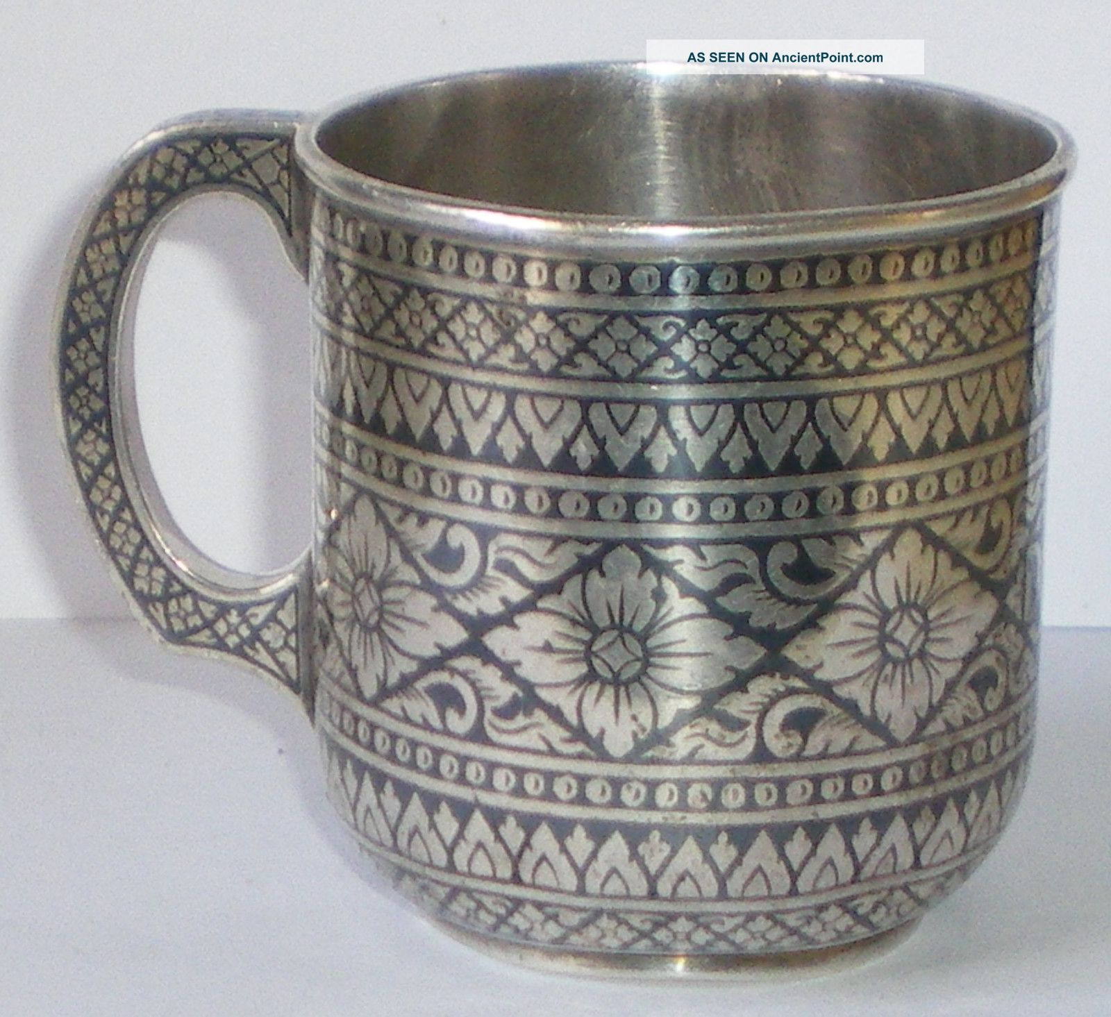 Solid Silver Niello Enamel Siam Thai Cristenting Cup F Margrett Not Scrap 154 G Cups & Goblets photo