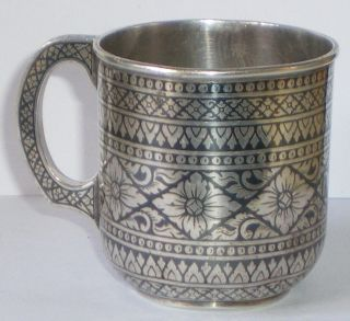 Solid Silver Niello Enamel Siam Thai Cristenting Cup F Margrett Not Scrap 154 G photo