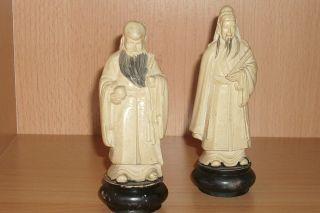 Pair Of Japanese Chinese Netsuke Okimono Figures Statues photo