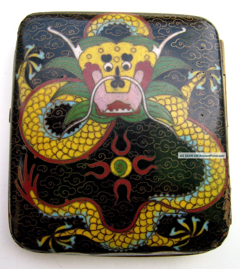 Antique Old Chinese Cloisonne Cigarette Box With Dragon Designs Boxes photo