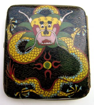 Antique Old Chinese Cloisonne Cigarette Box With Dragon Designs photo