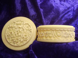 ~~beautiful Antique Chinese Hand Carved Faux Ivory Trinket Box ~canton C1900~ photo