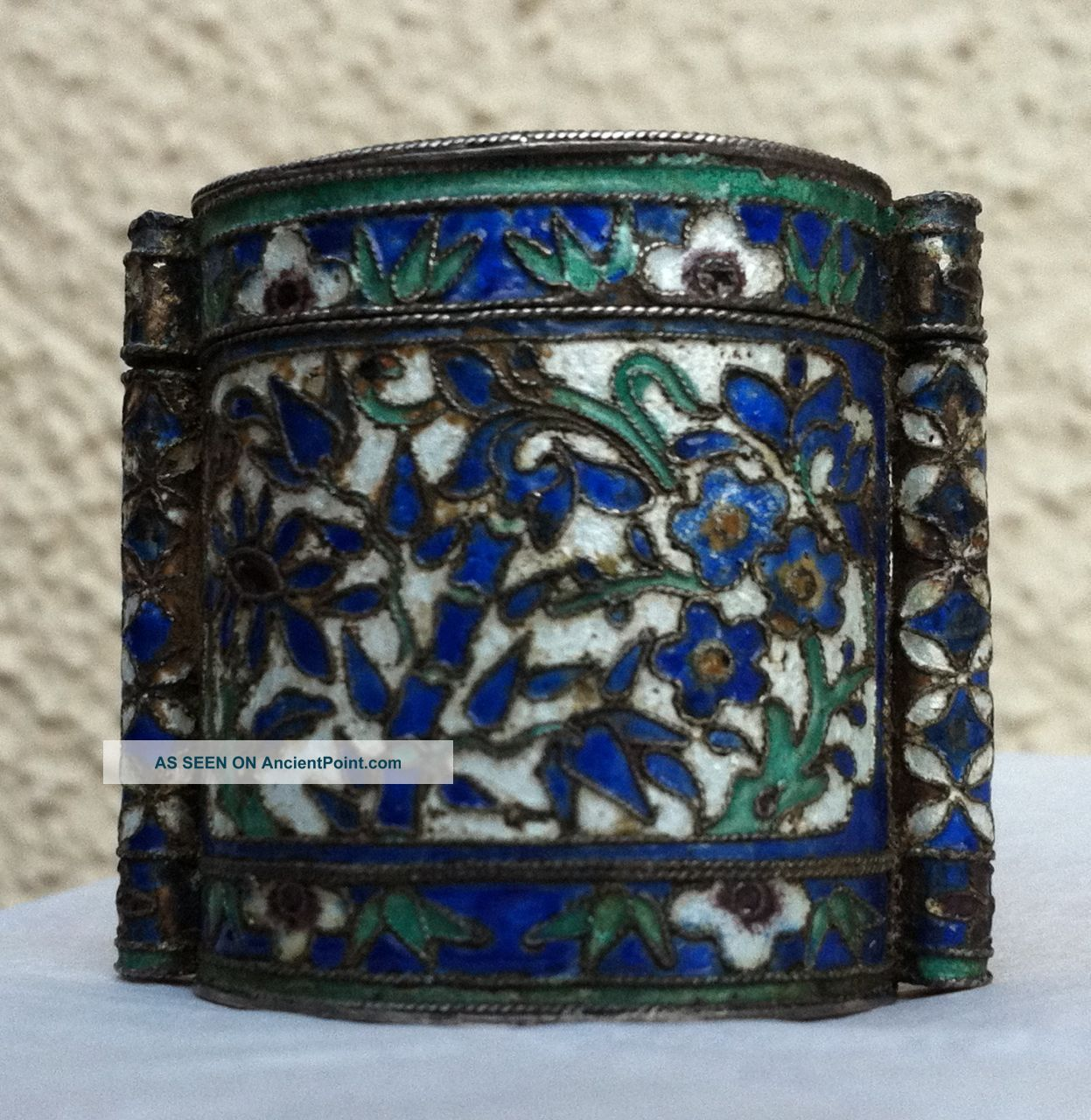 Antique Chinese Enamel Silver Qing Stamped Opium Snuff Box Toggle Bottle Pendant Boxes photo