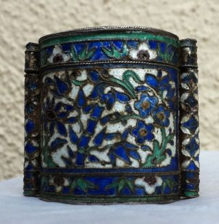 Antique Chinese Enamel Silver Qing Stamped Opium Snuff Box Toggle Bottle Pendant photo
