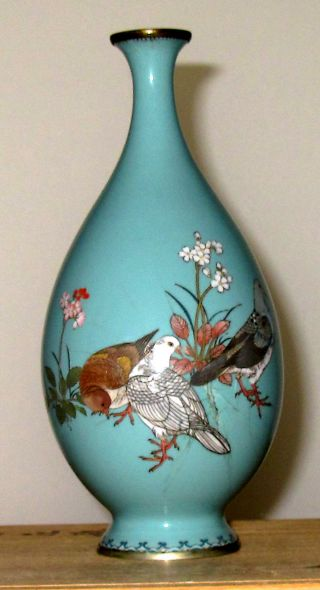 Old Japanese Cloisonne Vase - Gonda Hirosuke Plaque With Pigeons - Specimen Vase photo