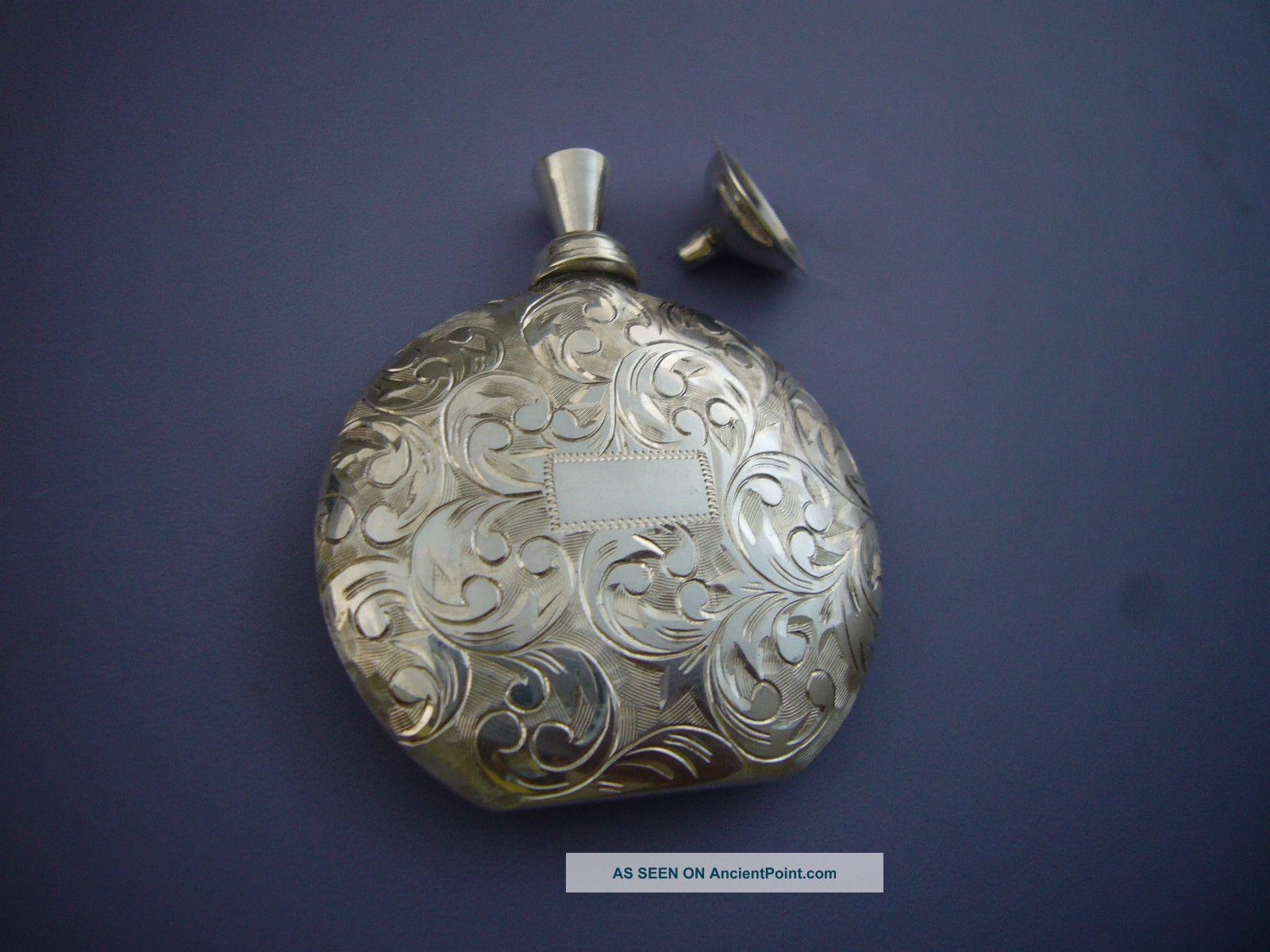 Finest Nand Engraved Japanese Sterling Silver Perfume Bottle Flask+dabber+funnel Bottles, Decanters & Flasks photo