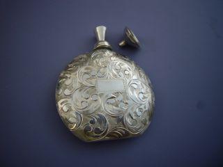 Finest Nand Engraved Japanese Sterling Silver Perfume Bottle Flask+dabber+funnel photo