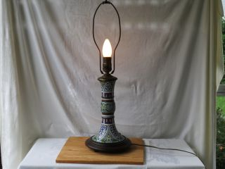 Japanese/chinese Cloisonne Champleve Enamel Vase On Wood Stand As Table Lamp Nr photo
