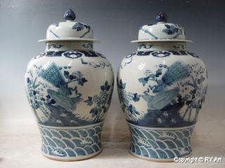 Pair Chinese Blue White Porcelain Temple Jar 22