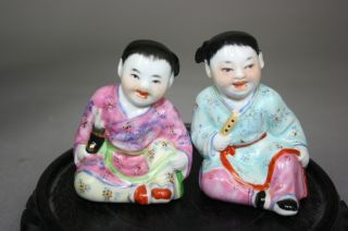 20th Century Chinese Famille - Rose Porcelain Figure Of Boy And Girl photo