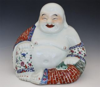 Signed Antique Chinese Terracotta Laughing Budai Buddha photo