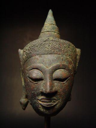 Rare Bronze Fragmented Crowned Ayutthaya Buddha Head,  Late 16th C.  Thailand photo
