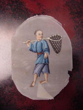 Antique Chinese Painting On Rice Paper: Bare Foot Fisher Boy photo