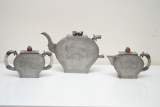 Early 20thc Chinese Antique Pewter Teapot Set Detail Carved Dragon Jade Handle photo