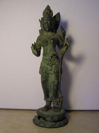 Rare Javanese Silvered Bronze Of Dewi Tara 15th Century photo