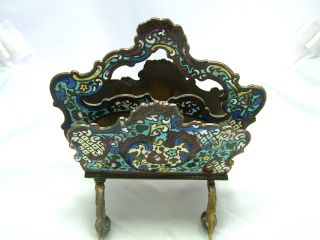 Antique Chinese Export Cloisonné Enamel Letter Rack Circa 1890 photo