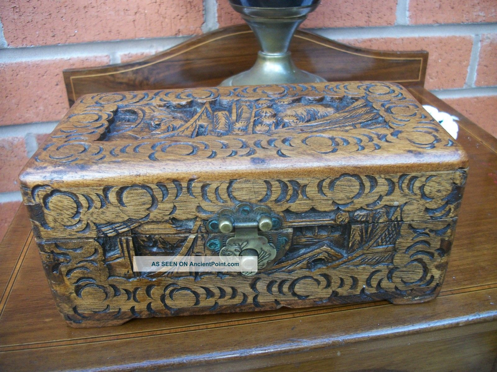 Antique Carved Chinese Oriental Desk Top Cigar / Trinket / Card Box Excellent Boxes photo