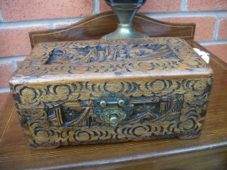 Antique Carved Chinese Oriental Desk Top Cigar / Trinket / Card Box Excellent photo
