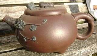 Antique Chinese Yixing Redware Teapot Signed Flowers And Bug photo