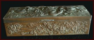 19th.  C Wonderful Heavy Quality Antique Chinese Export Dragon Box photo