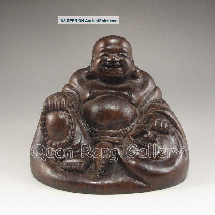 Chinese Hard Wood Statue - Laughing Buddha Nr Buddha photo