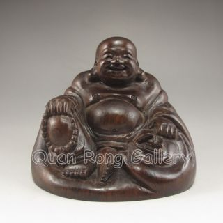Chinese Hard Wood Statue - Laughing Buddha Nr photo
