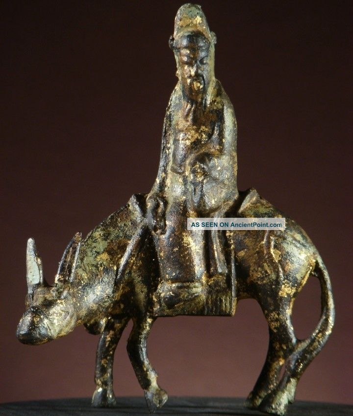 Buddha:antique Chinese Buddha On A Donkey,  A Parable In Bronze,  1800s,  Great Patina Buddha photo