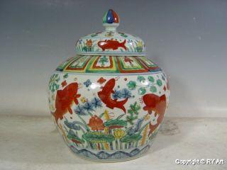 Stunning Ming Style Verte Porcelain Ginger Jar 11