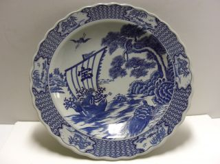 Imari Charger Blue And White With Dutch Ship And Symbolic Turtle Marked Large photo