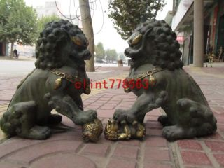 China Tibet Classical Bronze Gilt Palace Feng Shui Evil Foo Dog Lion Pair photo