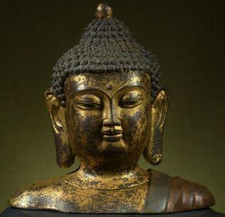 Buddha: Antique Tibetan Shakyamuni Bust,  Gilded & Painted Bronze,  Late 1800 ' S photo