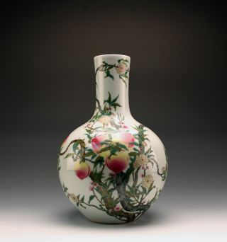 Fine Antique Yongzheng Mk Famille Rose 8 Peach Longevity Globular Porcelain Vase photo