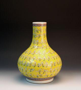 Antique Guangxu Mk Famille Rose Jasmine Flower Yellow Ground Porcelain Vase photo