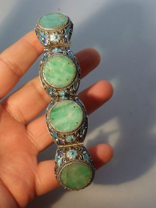 Antique Chinese Natural Carved Jade Silver Enamel Bracelet photo