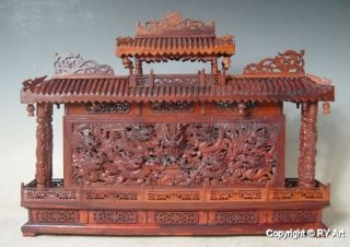 Rare Large Chinese Boxwood Carving Dragon Wall 22