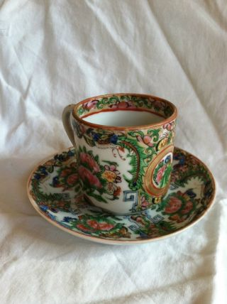 Vintage Rose Medallion Demitasse Cups And Saucers.  Set Of 6 photo