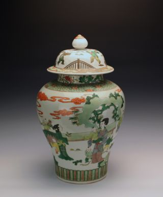 Large Antique Chinese Kangxi Famille Verte Figure Baluster Porcelain Vase W Lid photo