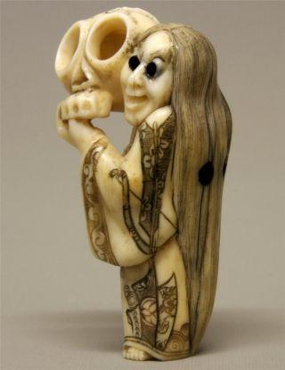19th C Meiji Japanese Carved Cow Bone Netsuke - Ghoul & Skull photo
