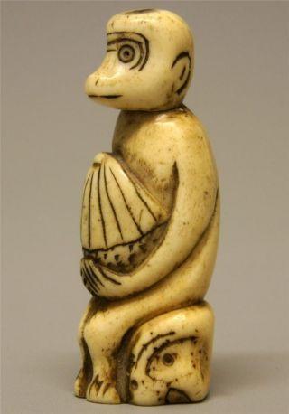 Rare 19th C Meiji Japanese Carved Stag Antler/bone Netsuke - Stylized Monkey photo
