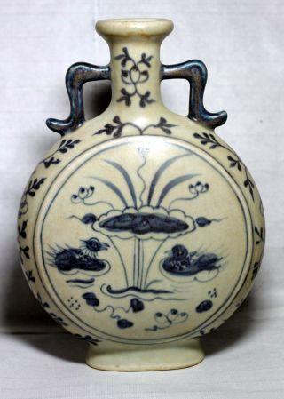 White & Blue Porcelain Two - Ear Duke Vase,  China Qing Dynasty photo
