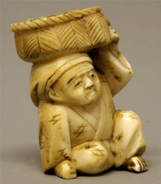 19th C Meiji Japanese Carved Cow Bone Netsuke - Market Trader photo