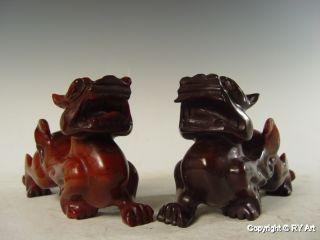 Pair Chinese Jade Carving Pixiu Statue 8