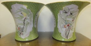 Pair Of Antique Chinese Vases Marked Floral Birds Hand Painted Export Porcelain photo