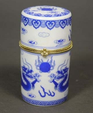 Chinese Handwork Painting Dragon Old Porcelain Toothpick Box photo
