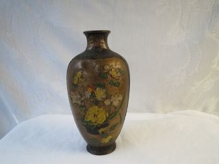 Japanese Or Chinese Cloisonne? Enamel Rare Relievo Vase Nr photo