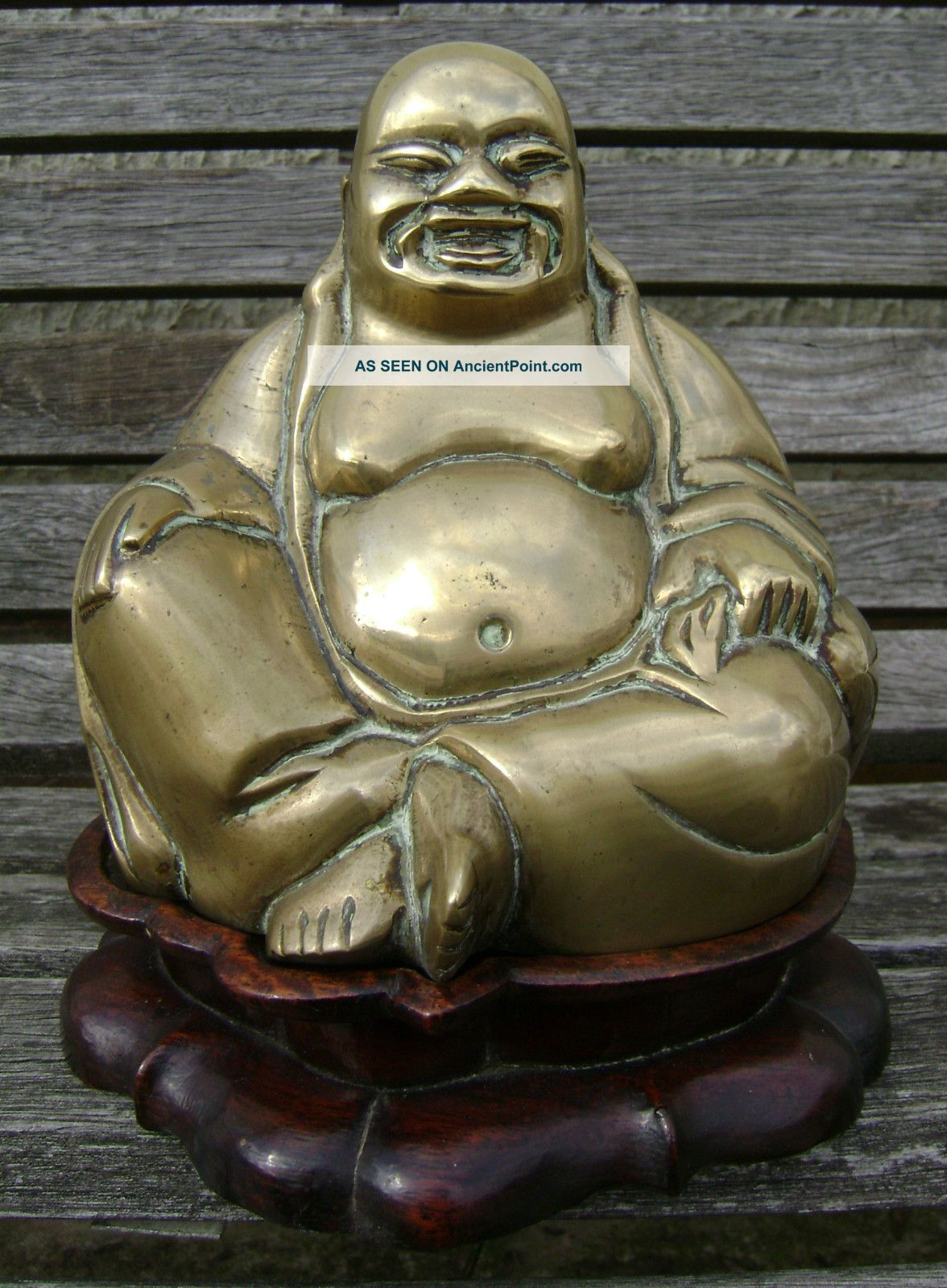 Antique Qing Chinese Bronze Buddha Buddah On Wood Stand Buddha photo