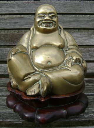 Antique Qing Chinese Bronze Buddha Buddah On Wood Stand photo